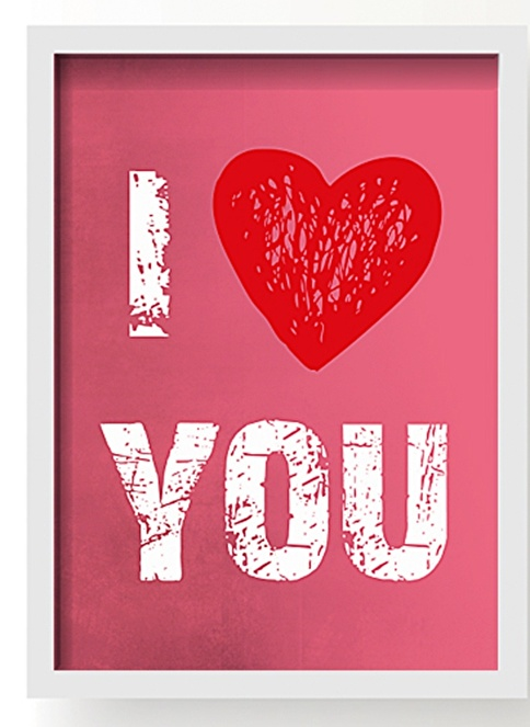 All About Wall I Love You Poster Pembe